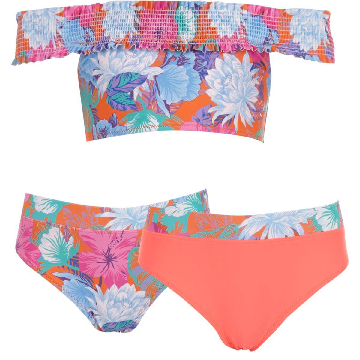 Girls orange floral bardot tankini set