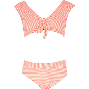 Girls coral stripe knot front tankini set