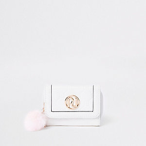 Girls white pom pom trifold purse