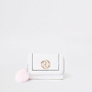 Porte-monnaie à trois volets blanc à pompons pour fille