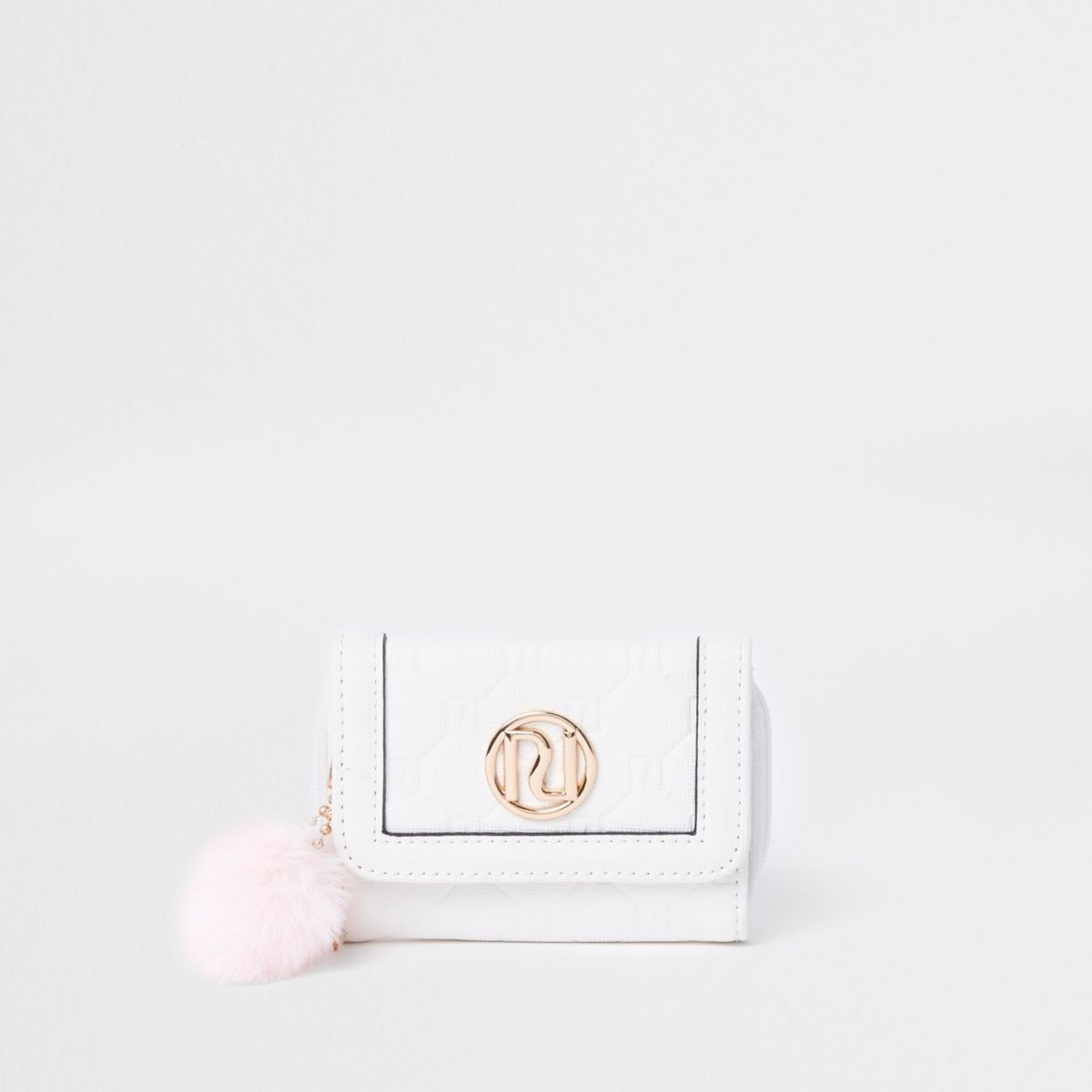 Girls white pom pom trifold purse
