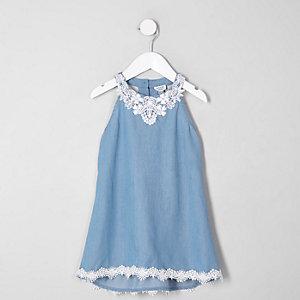 Mini girls lace denim trapeze dress