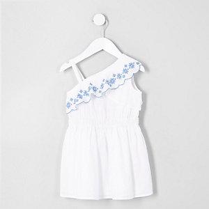 Mini - Witte geborduurde jurk met blote schouder voor meisjes