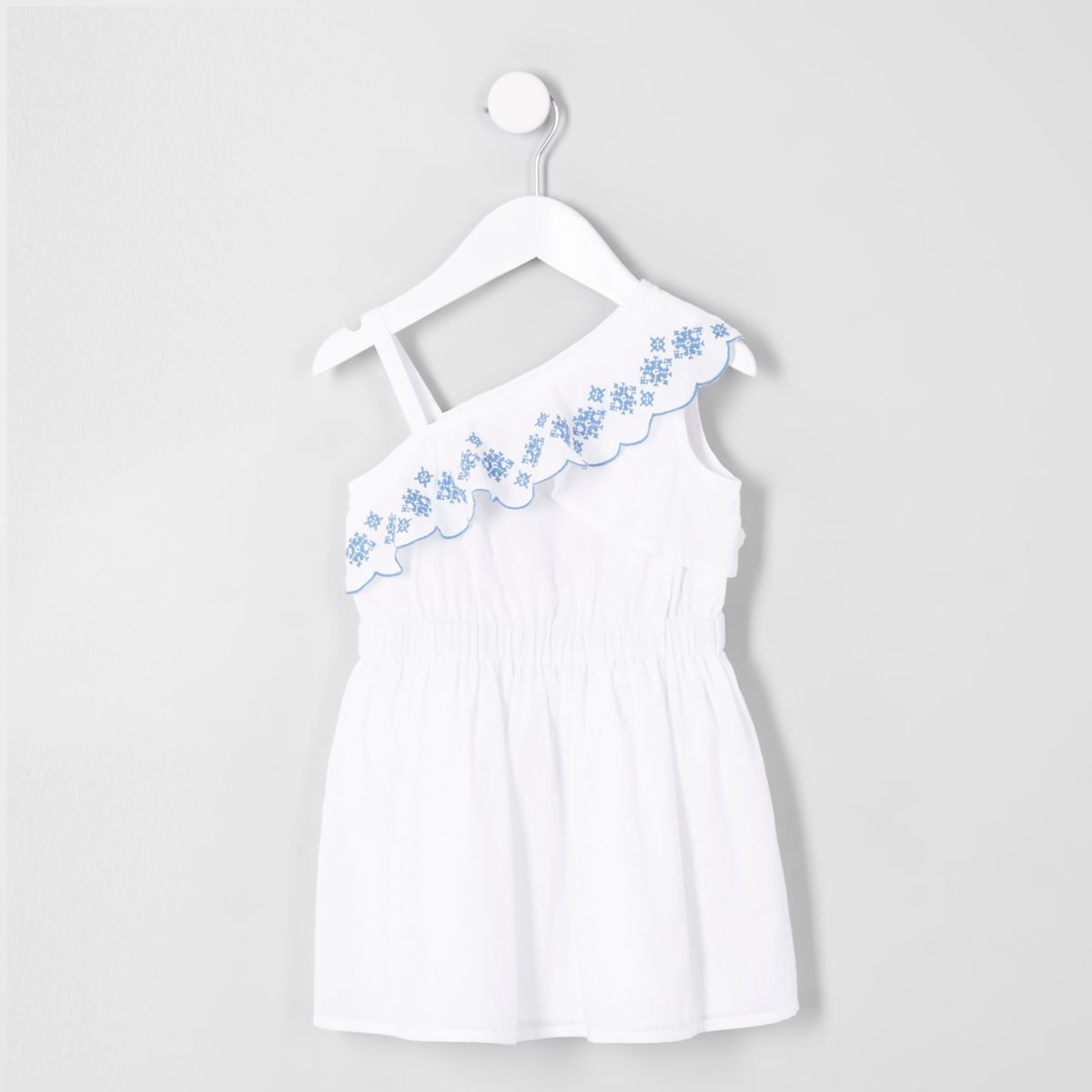 Mini girls white one shoulder broderie dress
