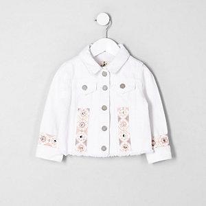 Mini girls white embroidered denim jacket