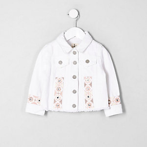 Mini girls white embroidered denim jacket