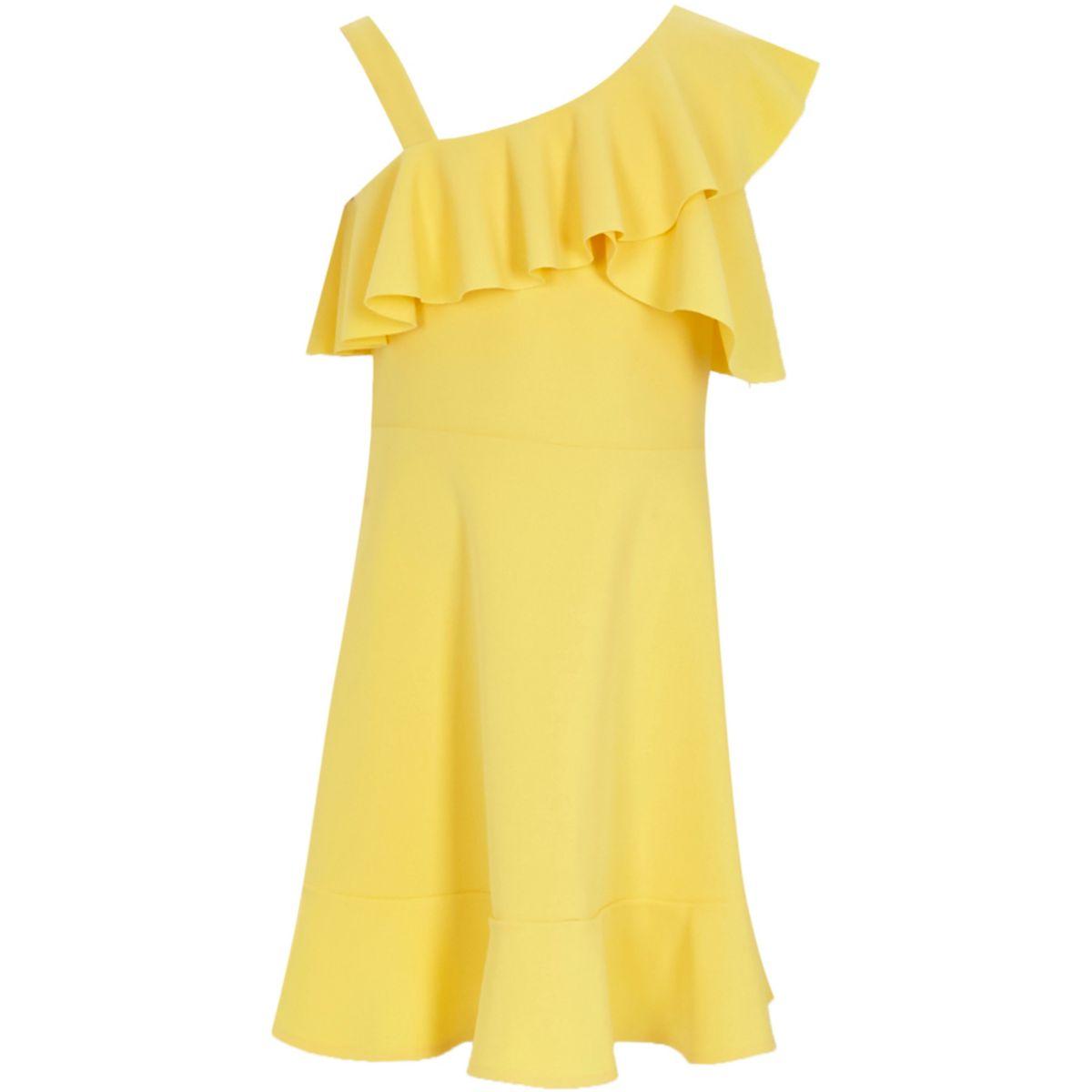Girls yellow ruffle one shoulder dress
