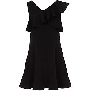 Girls black one shoulder frill skater dress