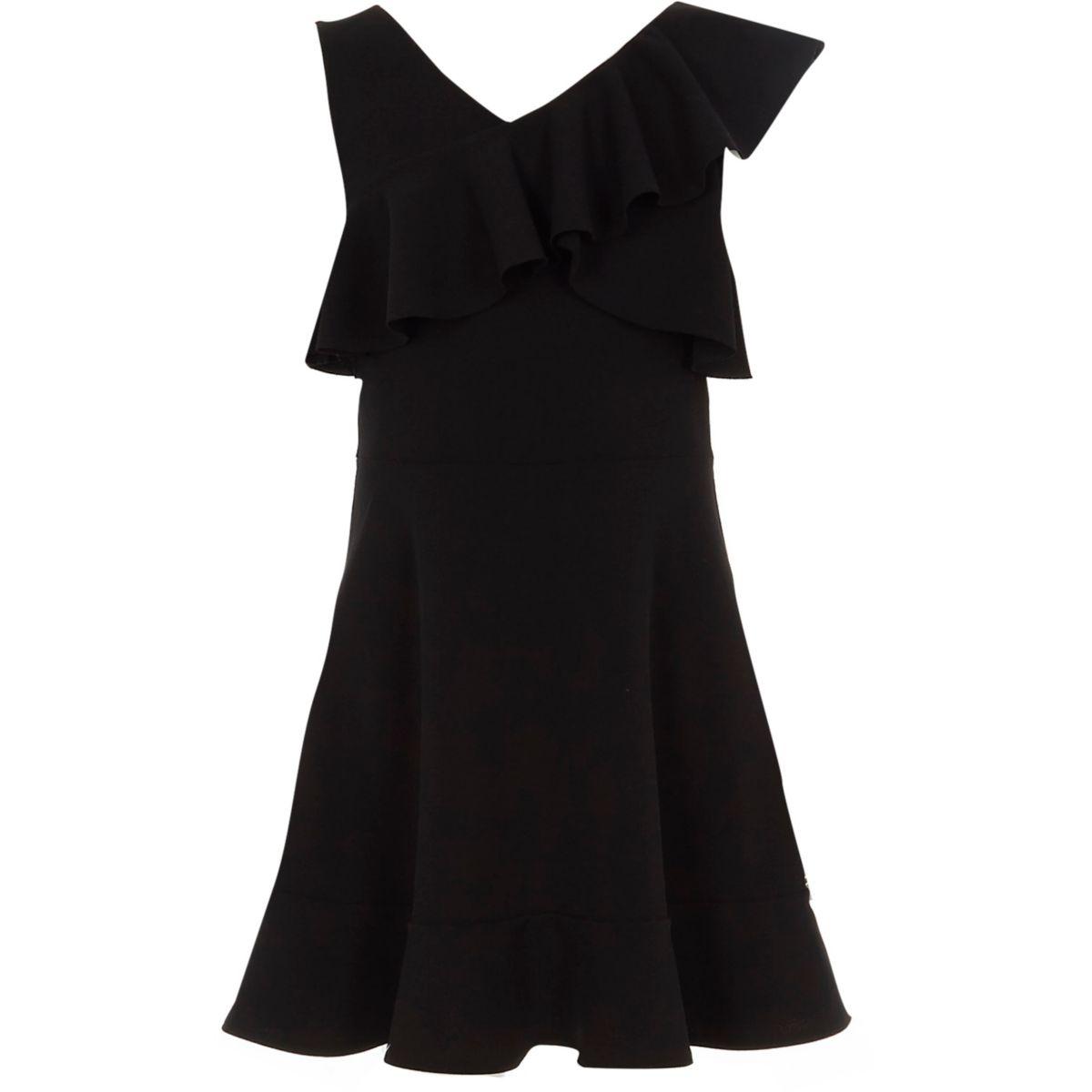 Girls black one shoulder frill skater dress