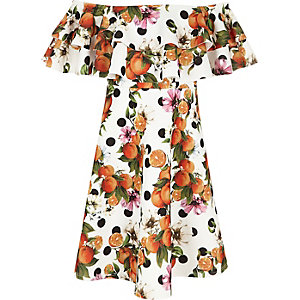 Girls orange print double ruffle bardot dress