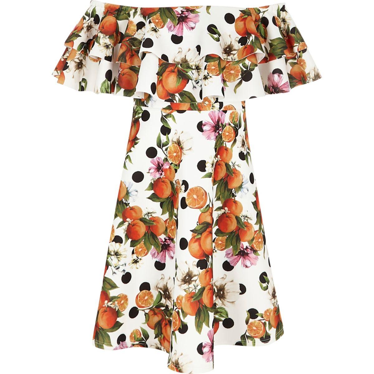 Robe Bardot imprimée orange à deux volants pour fille
