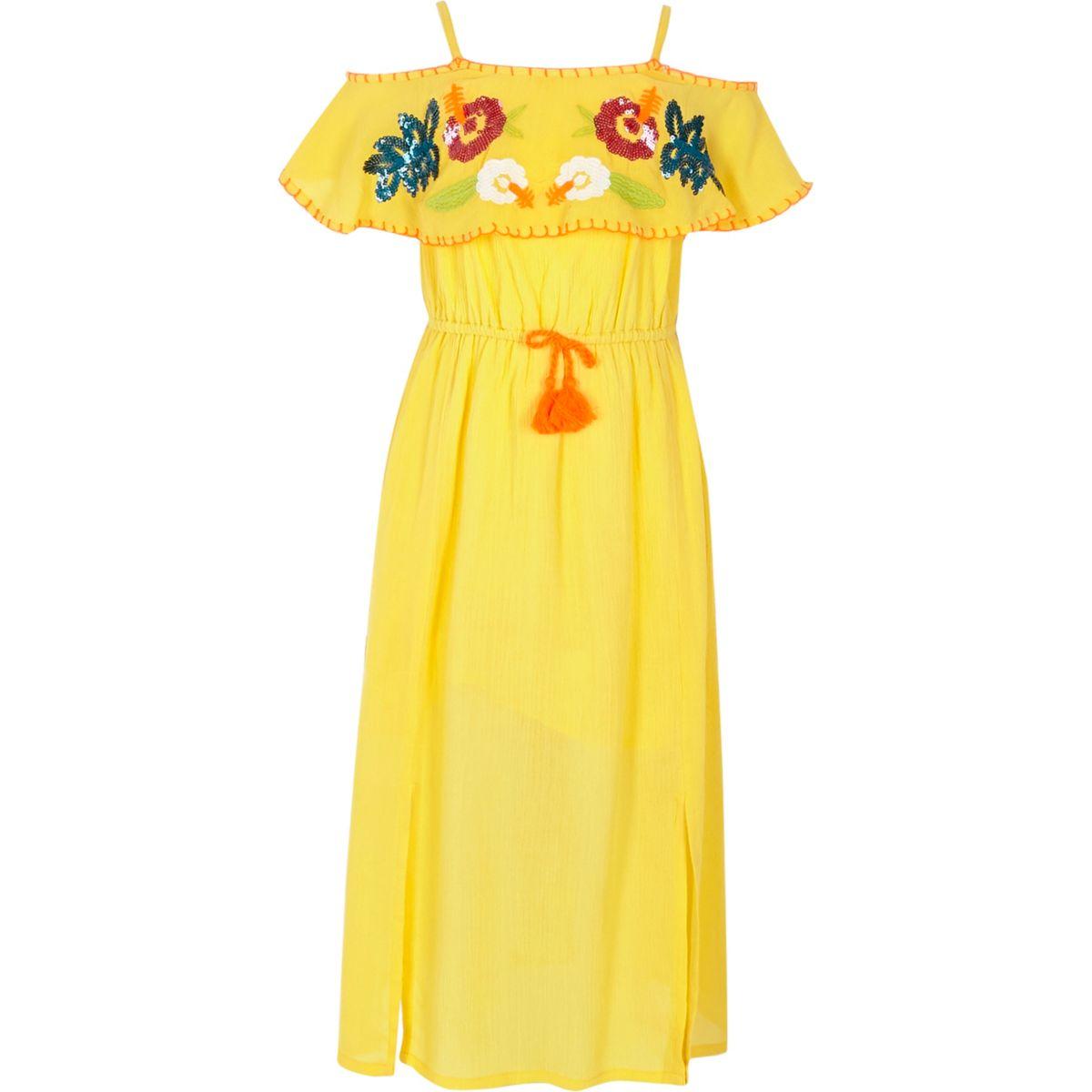 Girls yellow sequin embellished maxi dress