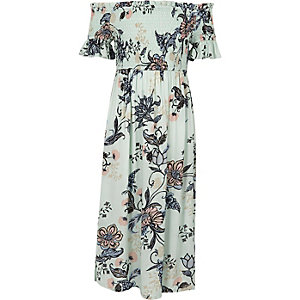 Girls blue floral print bardot maxi dress