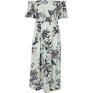 Robe longue Bardot à fleurs bleue pour fille