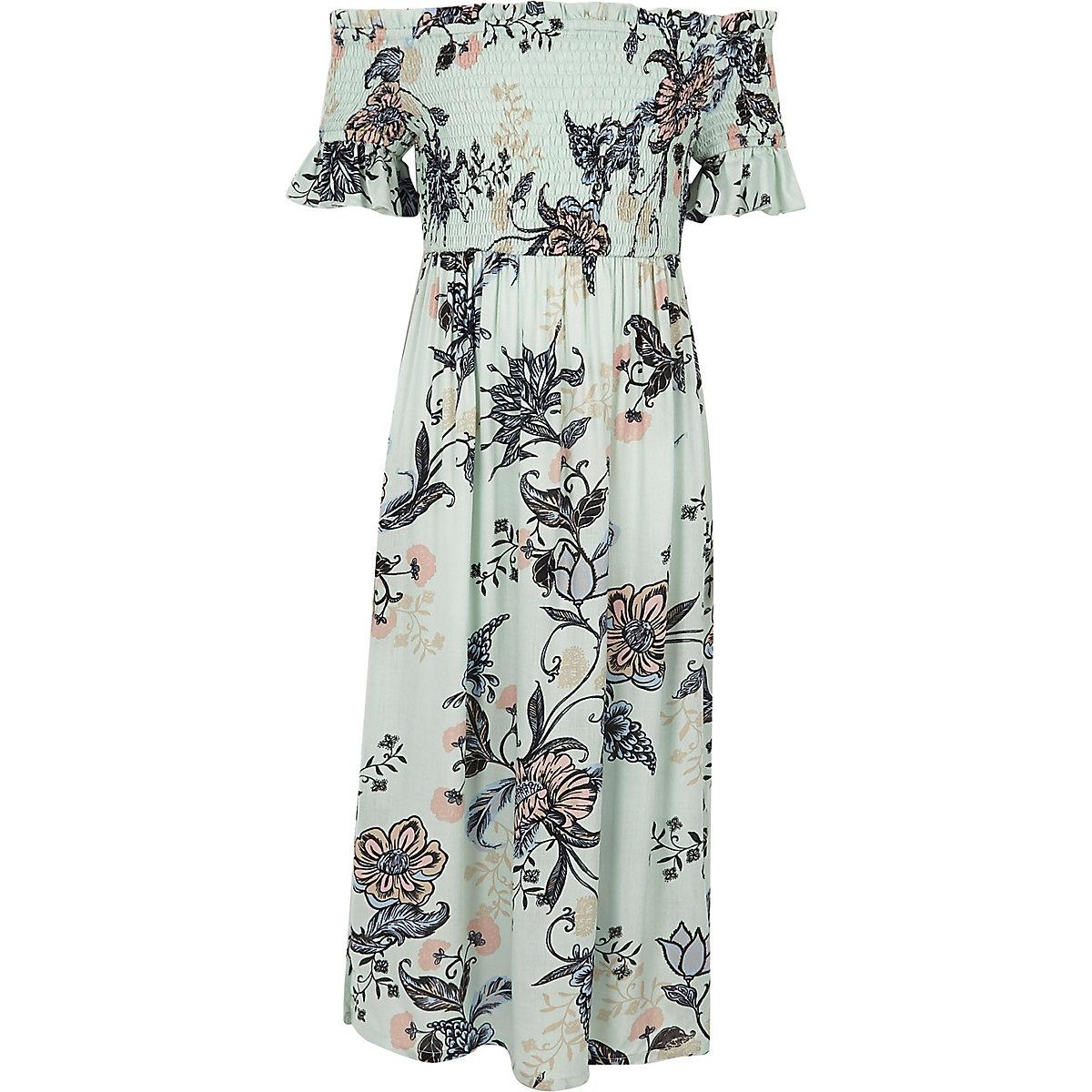 Girls blue floral print bardot maxi dress