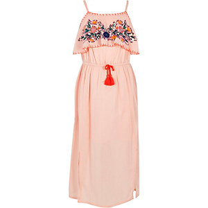 Girls pink sequin embellished maxi dress