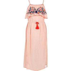 Roze verfraaide maxi-jurk met pailletten voor meisjes