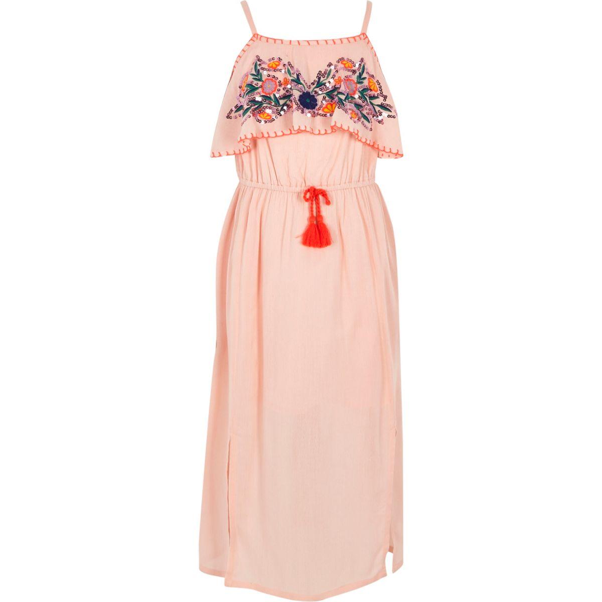Robe longue rose brodée de sequins pour fille