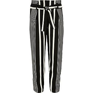 Pantalon fuselé rayé noir noué à la taille pour fille