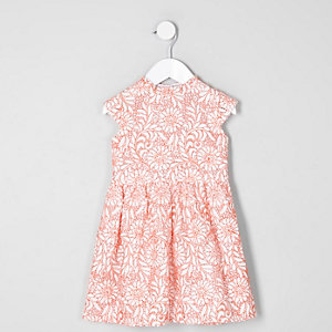 Mini girls coral lace high neck prom dress