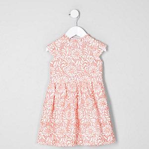 Mini girls coral lace high neck prom dress