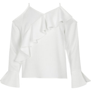 Girls white cold shoulder frill top