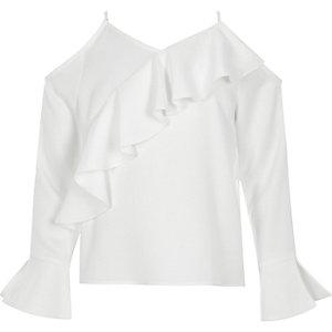 Top blanc à épaules dénudées et volants pour fille