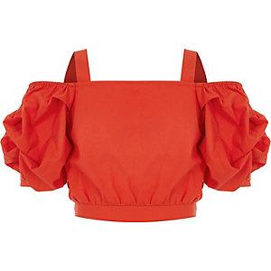 Rode schouderloze crop top met pofmouwen voor meisjes