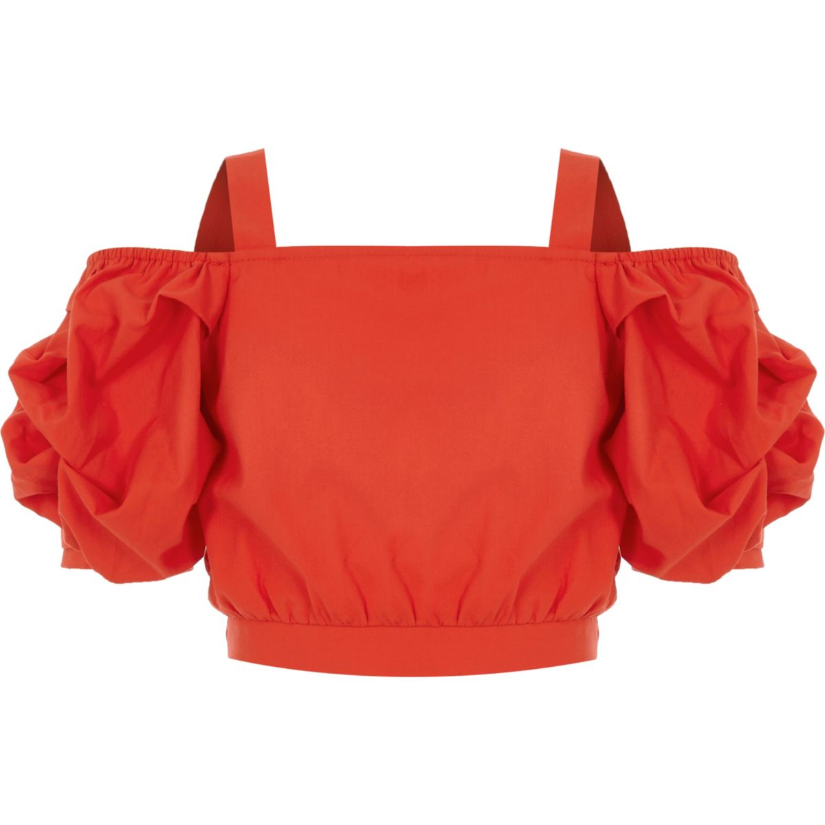 Girls red cold shoulder puff sleeve crop top