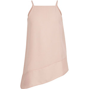 Girls pink asymmetric drop hem cami top