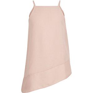 Girls pink asymmetric drop hem cami top