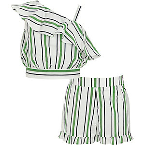 Girls green stripe crop top and shorts outfit