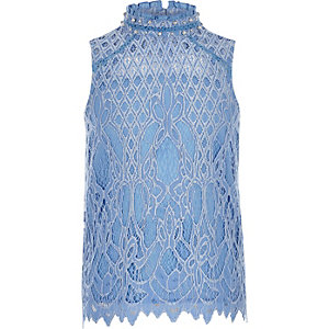 Girls light blue embellished lace top