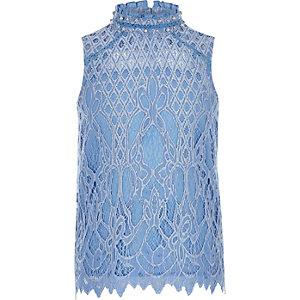 Lichtblauwe verfraaide top met kant voor meisjes