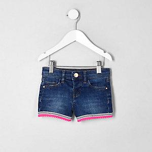Short en jean bleu à bordure aztèque mini fille