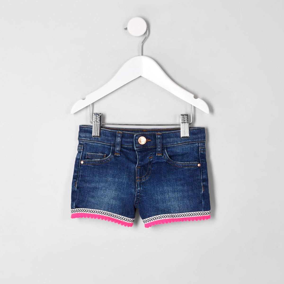 Mini girls blue denim Aztec trim shorts