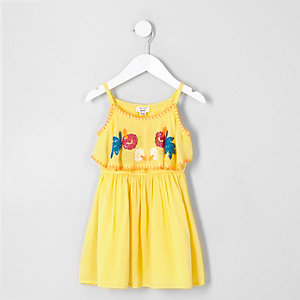 Mini girls yellow floral frill dress