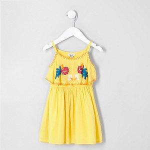 Mini - Gele jurk met bloemenprint en ruches voor meisjes
