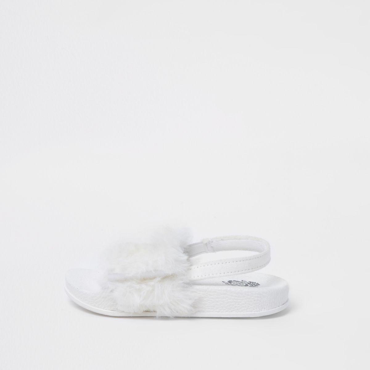 Mini girls white faux fur sliders