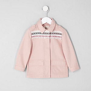 Mini girls pink embroidered trim shacket