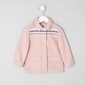 Mini girls pink embroidered trim shacket