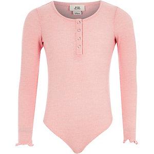 Body rose clair côtelé à boutons pression pour fille