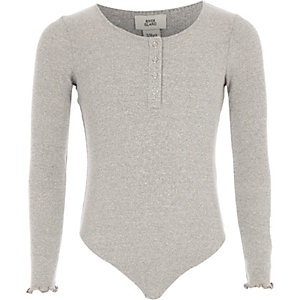 Girls grey rib popper front bodysuit