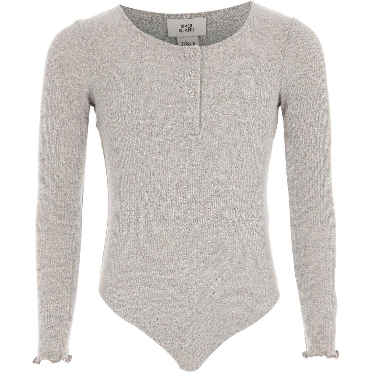 Girls grey rib popper front bodysuit
