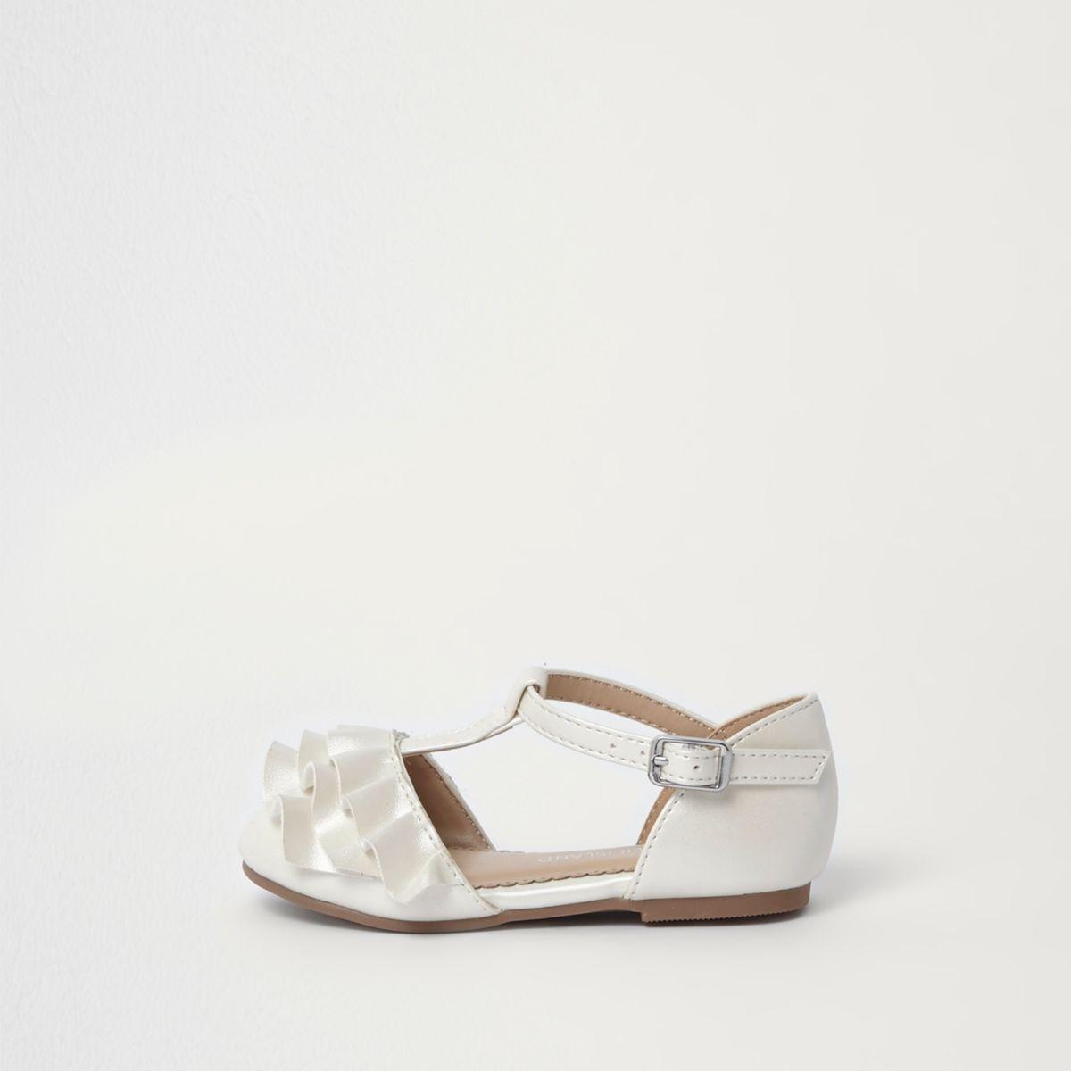 Mini girls cream ruffle T-bar shoes