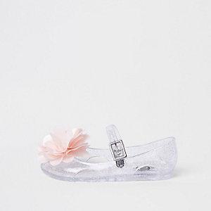 Mini - Doorschijnende jellyschoenen met glitters en corsage voor meisjes