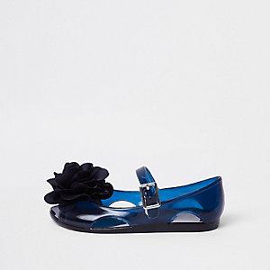 Mini - Marineblauwe jellyschoenen met glitters en corsage voor meisjes
