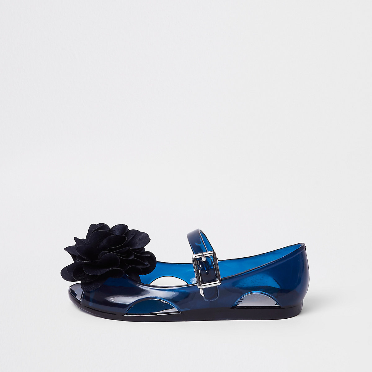 Mini girls navy glitter jelly corsage shoes