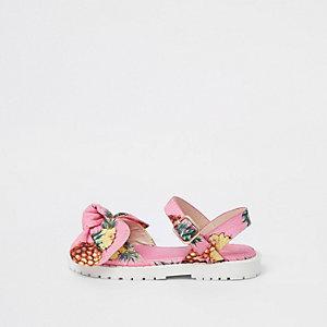 Mini - Roze sandalen met strik, ananasprint en dikke zool