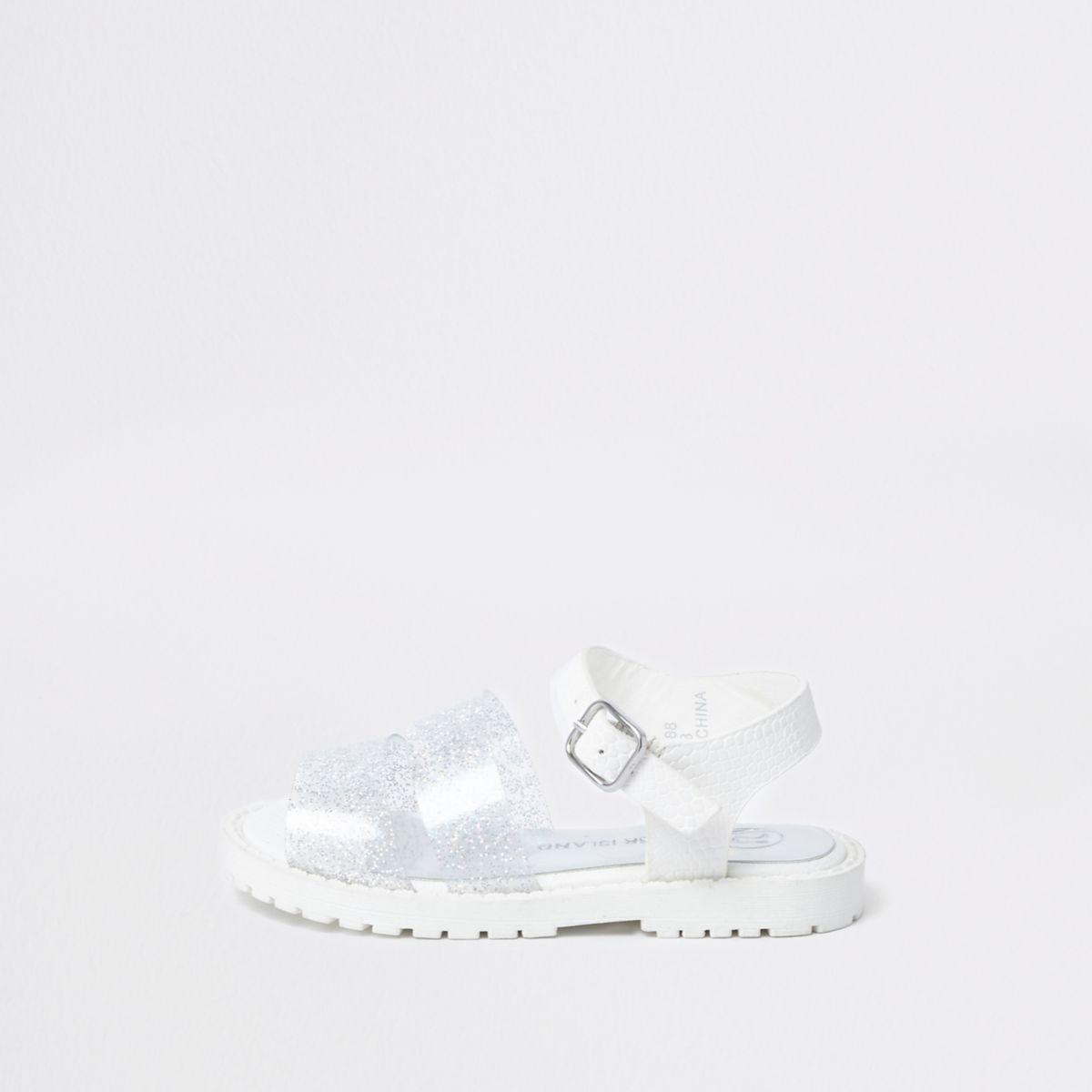 Mini girls silver glitter chunky sandals